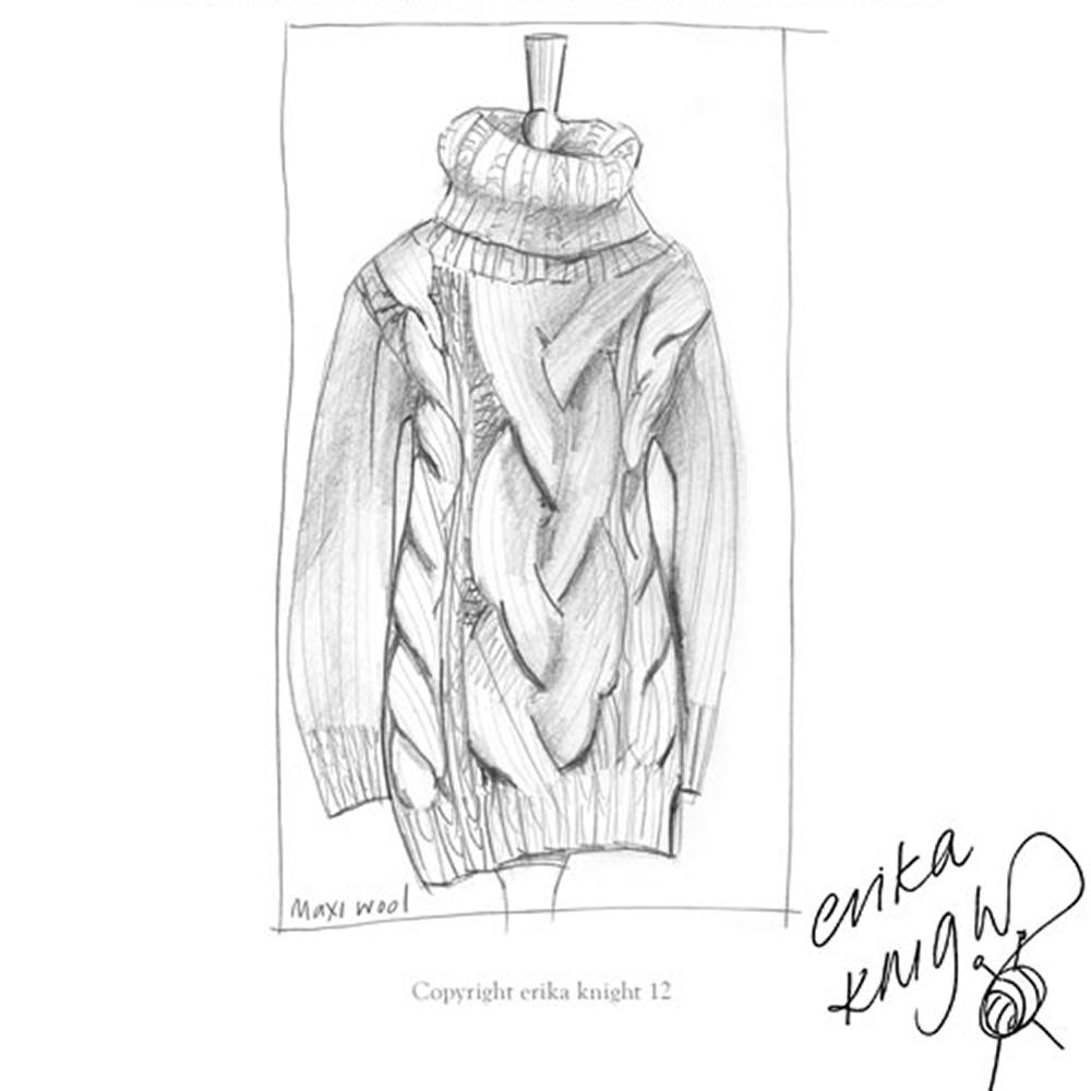 Erika Knight Gedruckte Anleitungen Maxi Wool Cable Stitch Maxi Sweater Englisch
