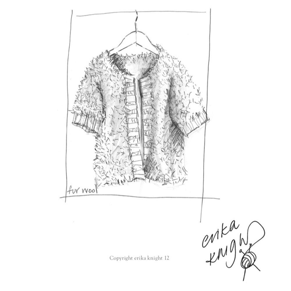 Erika Knight Gedruckte Anleitungen Vintage Wool und Fur Wool Rib Edge Fur Jacket Englisch Fur Wool