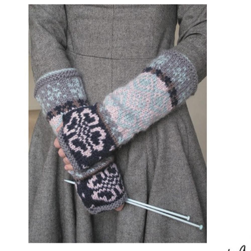 Erika Knight Gedruckte Anleitungen Vintage Wool und Fur Wool Floral Fairisle Mittens Englisch Vintage Wool