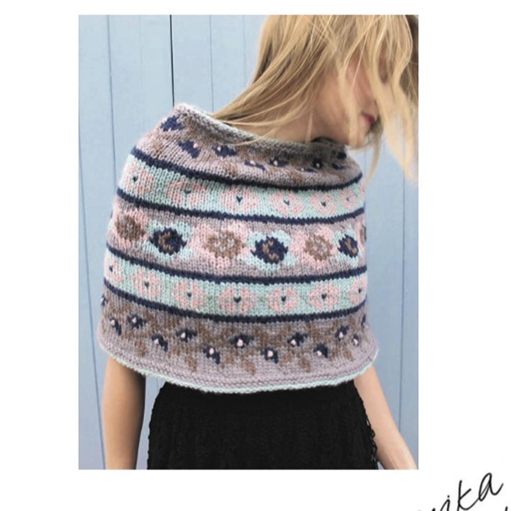 Erika Knight Gedruckte Anleitungen Vintage Wool und Fur Wool Floral Fairisle Short Poncho Englisch Vintage Wool