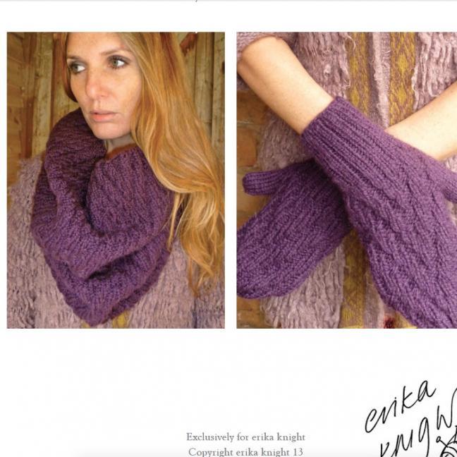 Erika Knight Gedruckte Anleitungen Vintage Wool und Fur Wool 16 Loop und Handschuhe Deutsch Vintage Wool