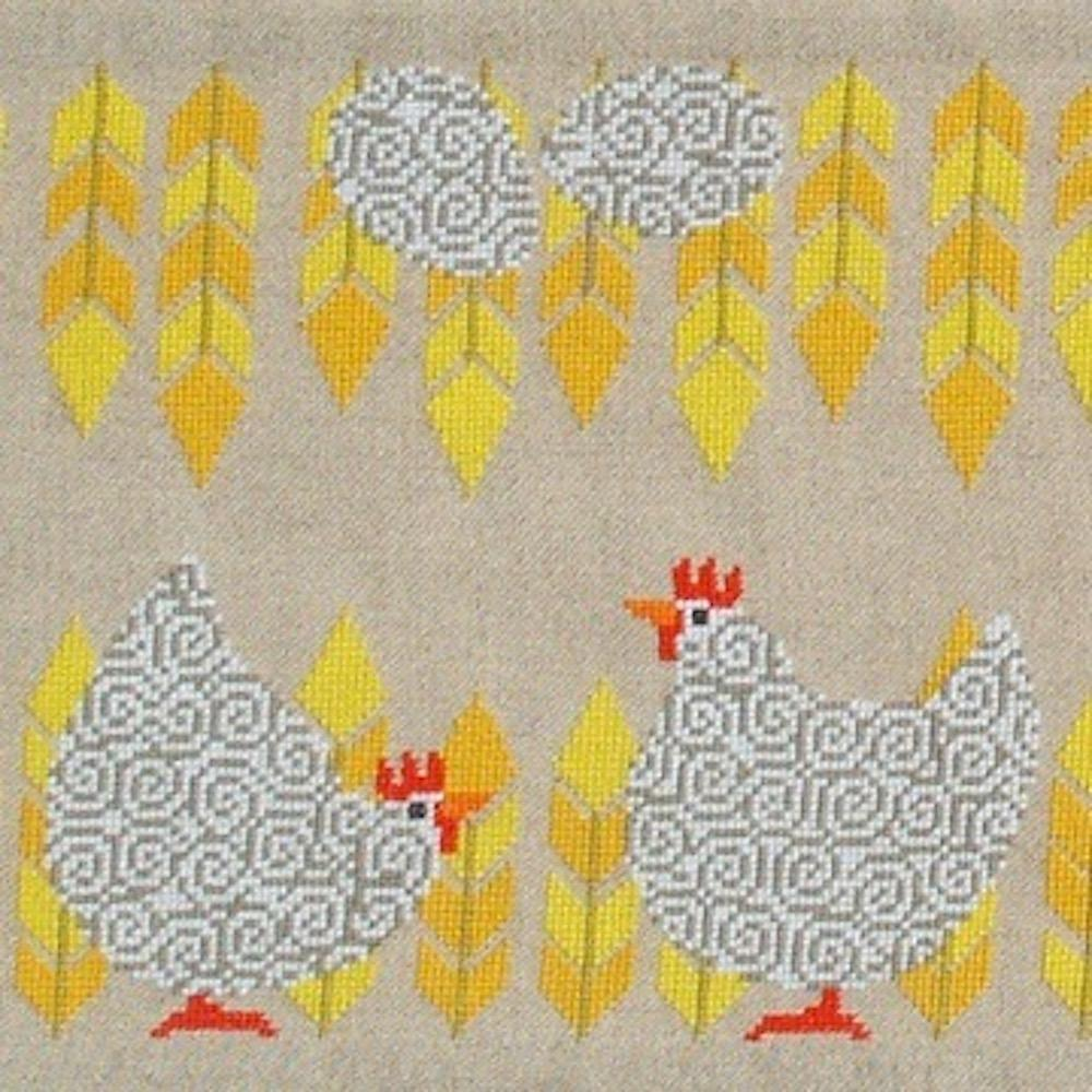 Fru Zippe Weiße Hühner und Eier Tischläufer 77 0282  Weiße Hühner und Eier