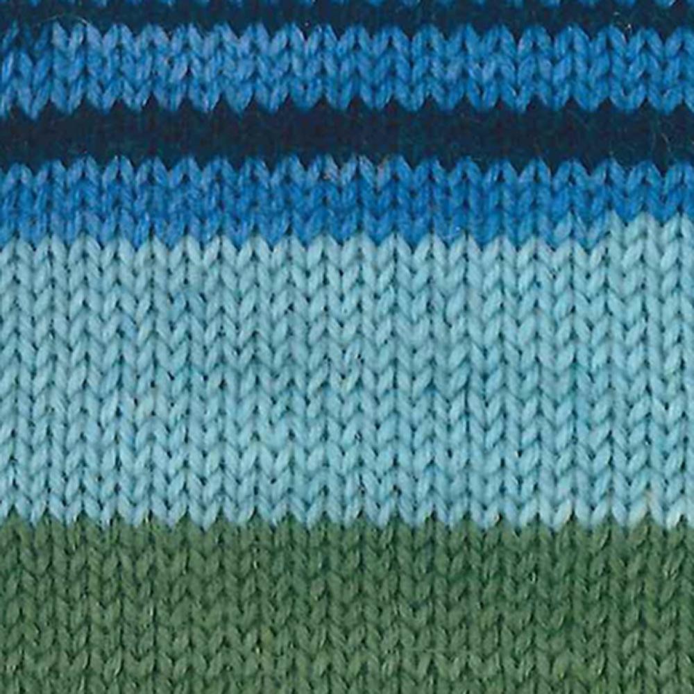 Kremke Soul Wool Edelweiss 6fach 150 Blau mit Grau gestreift