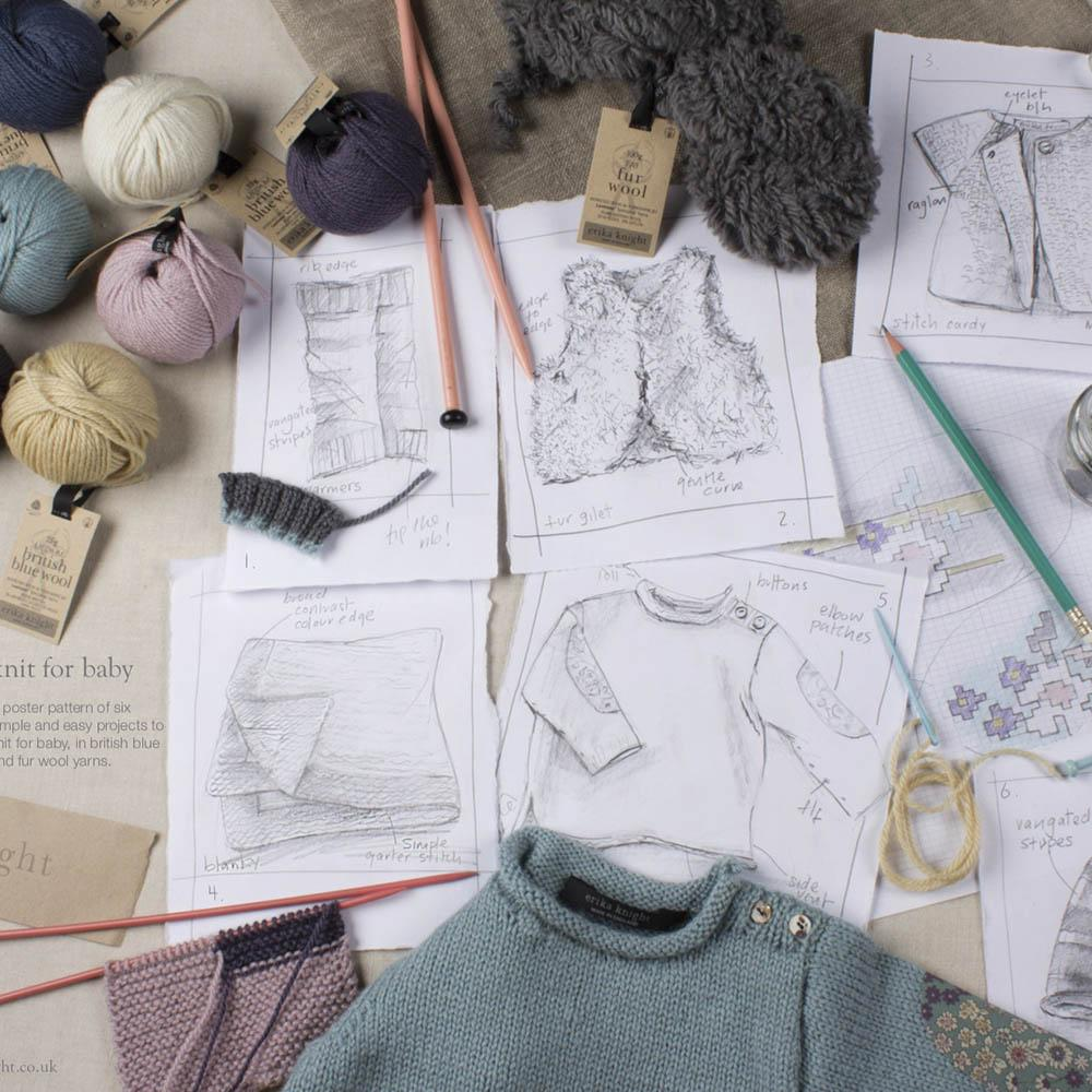 Erika Knight Gedruckte Anleitungsposter ENG Knit for Baby