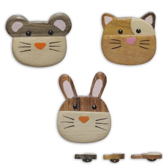 Jim Knopf Holz-Ösenknopf Katze Maus oder Hase 32mm