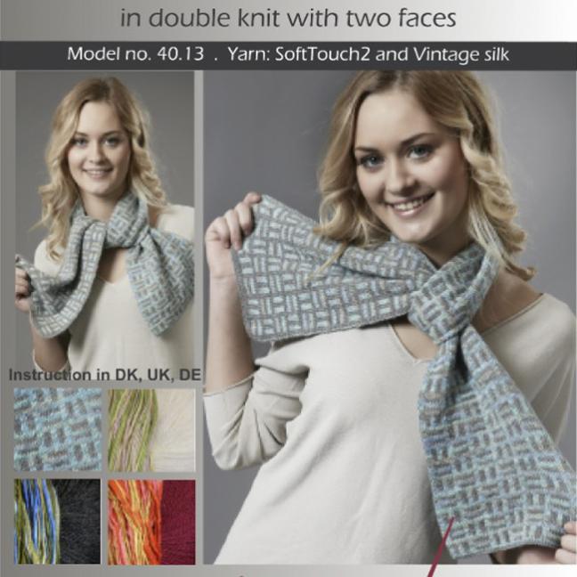 Karen Noe Design Kit Domino Scarf 40.13  mittelgrau/hellblaugrün