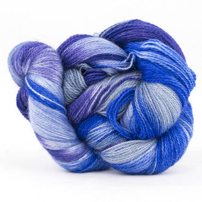 Cowgirl Blues Mohair Wool 2ply Lace Farbverlauf  CobaltAirforceBlueberryIcedberry