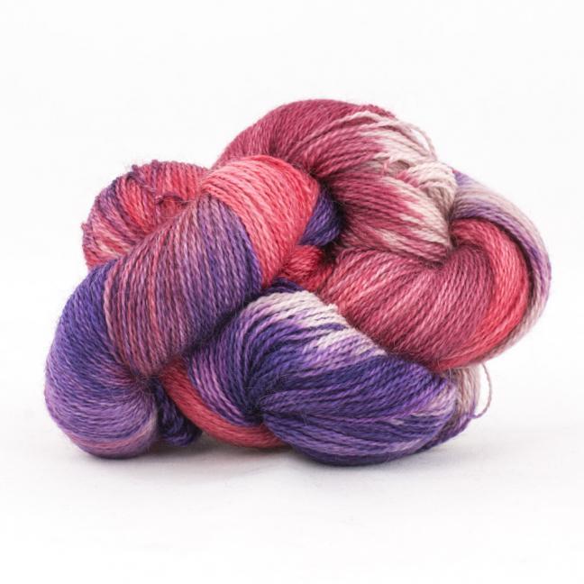 Cowgirl Blues Mohair Wool 2ply Lace Farbverlauf LipstickFadedroseVioletDustyrose
